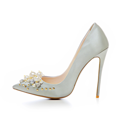 Crystal Pearl Embellished Satin Shoes Bridal 5 inch Stilettos Heeled Pumps in Silver