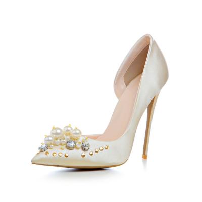Champagne Crystal Pearl Embellished Satin D'orsay Heels Bridal 5 inch Stilettos Heeled Pumps