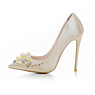Crystal Pearl Embellished Satin Shoes Bridal 5 inch Stilettos Heeled Pumps in Champagne