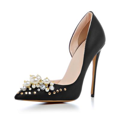 Black Crystal Pearl Embellished Satin D'orsay Heels Bridal 5 inch Stilettos Heeled Pumps