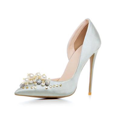Silver Crystal Pearl Embellished Satin D'orsay Heels Bridal 5 inch Stilettos Heeled Pumps