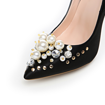 Crystal Pearl Embellished Satin Shoes Bridal 5 inch Stilettos Heeled Pumps