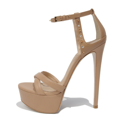 Crystal Studded Platform Party Sandals Buckle Stiletto Heels in Nude