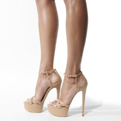 Crystal Studded Platform Party Sandals Ankle Strap Buckle Stiletto Heels