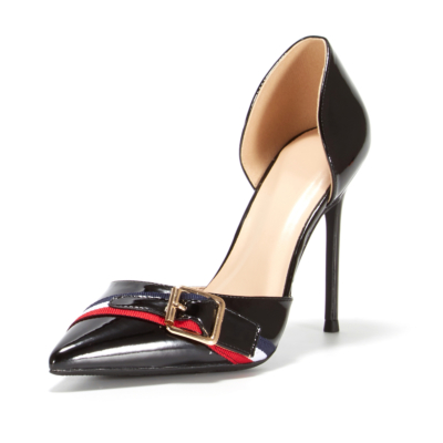 Black Cut Out Pumps Patent Leather Buckle D'orsay Office Shoes Stiletto Heels