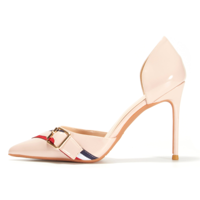 Nude Cut Out Pumps Patent Leather Buckle D'orsay Office Shoes Stiletto Heels