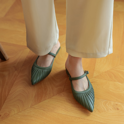 Green Buckle Slingback Mary Jane Shoes Low Heel Pumps