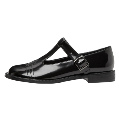 Black T Strap Buckle Mary Janes Flats Heart Pumps for Women