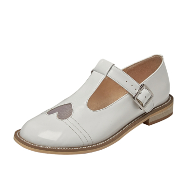 Cute T Strap Buckle Mary Janes Flats Heart Pumps for Women