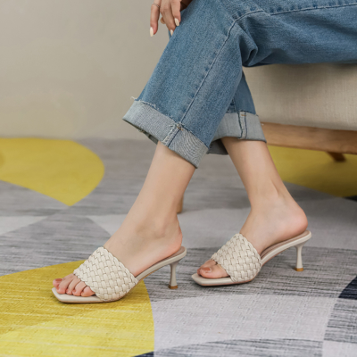 Beige Cute Woven Spool Heel Slide Sandals