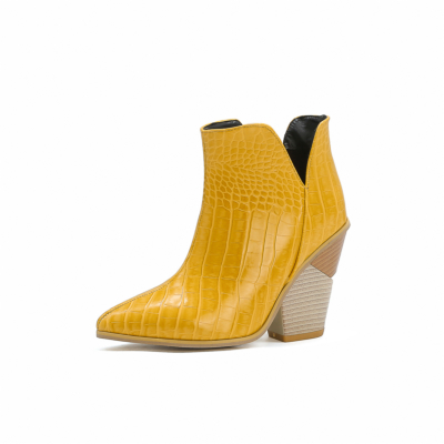 Yellow Cutout V Side Snake Print Block Heel Ankle Booties