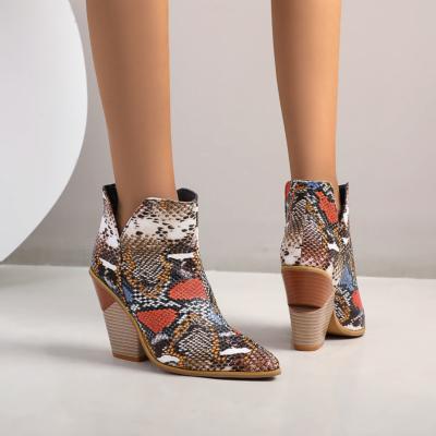 Brown Cutout V Side Snake Print Block Heel Ankle Booties