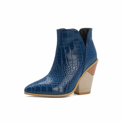 Blue Cutout V Side Snake Print Block Heel Ankle Booties