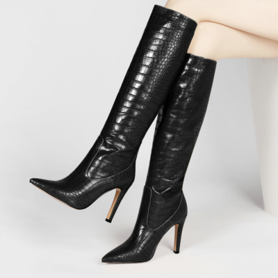 Black Dance Boots Croc-Effect Stiletto Knee High Boots