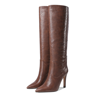 Brown Dance Boots Croc-Effect Stiletto Knee High Boots