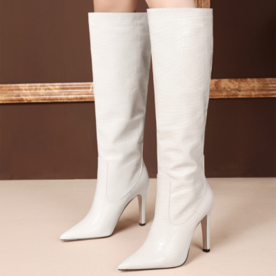 White Dance Boots Croc-Effect Stiletto Knee High Boots