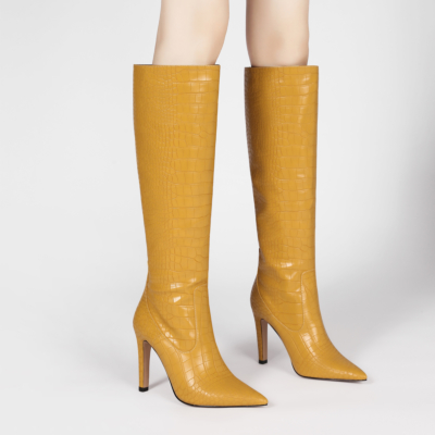 Yellow Dance Boots Croc-Effect Stiletto Knee High Boots