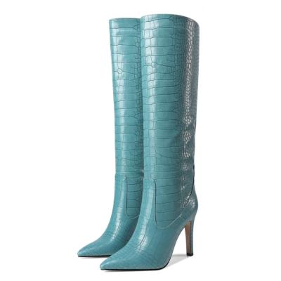 Blue Dance Boots Croc-Effect Stiletto Knee High Boots