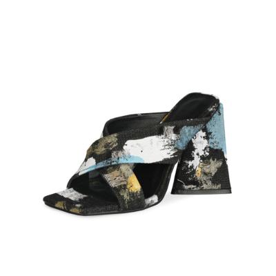Denim Cross Strap Mule Sandals Chunky Heels Slide Shoes