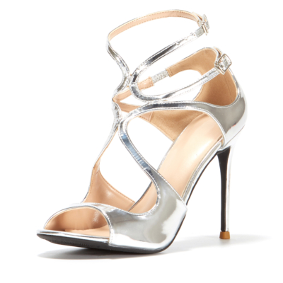 Sliver Sexy Metallic Sandals Heels 2021 Hollow Out Buckle Party Sandals