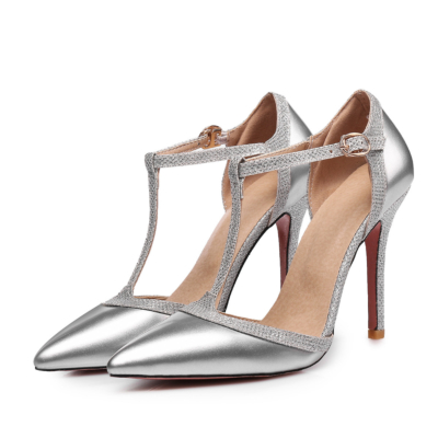 Silver Dress Pointed Toe Stiletto High Heel T-Strap D'orsay Pumps