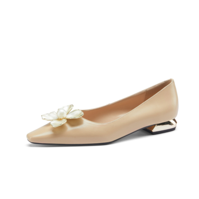 Apricot Dresses Leather Metallic Low Heels Flower Sqaure Toe Spring Pumps