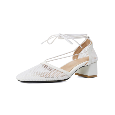 White Square Toe Mesh Lace Up Low Heel D'orsay Fishnet Pumps