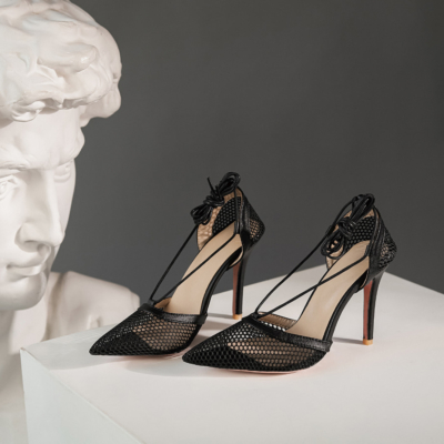 Black Pointy Toe Dresses Mesh Lace Up Heel D'orsay Fishnet Pumps