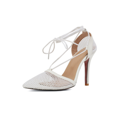 White Pointy Toe Dresses Mesh Lace Up Heel D'orsay Fishnet Pumps