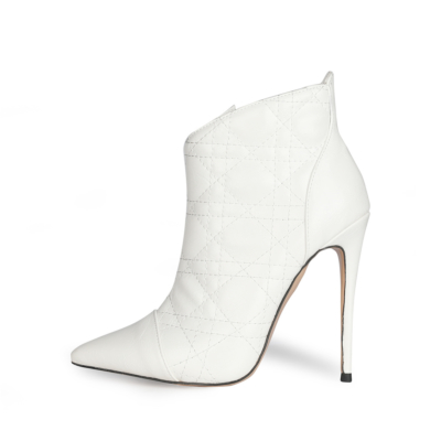 Dresses Quilted Zipper Ankle Boots Pointed Toe Anke Booties with Stiletto High Heel