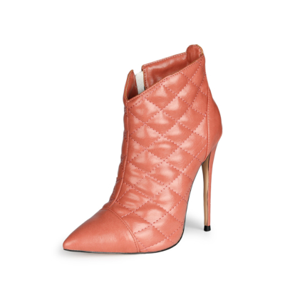 Pink Dresses Quilted Ankle Boots 2021 Pointed Toe Anke Booties with 5