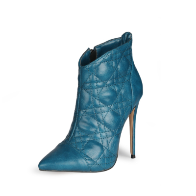 Dark Blue Dresses Quilted Zipper Ankle Boots Pointed Toe Anke Booties with Stiletto High Heel