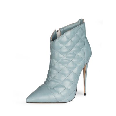Green Dresses Quilted Zipper Ankle Boots Pointed Toe Anke Booties with 5 inch Stiletto High Heel