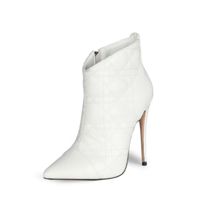 White Dresses Quilted Zipper Ankle Boots Pointed Toe Anke Booties with Stiletto High Heel