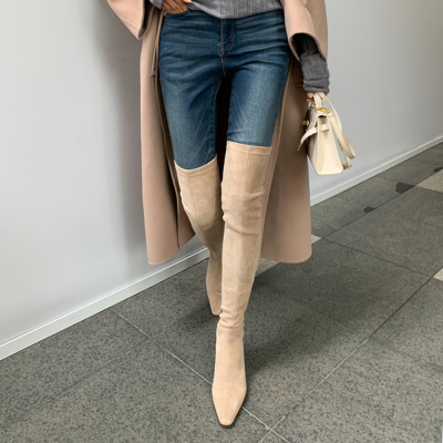 Nude Suede Elastic Over-the-knee Boots with 2.8