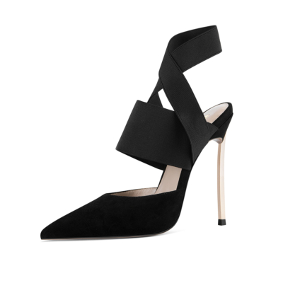 Black Elastic Strap Backless Pumps Heeled Wide Band Pointed Toe Sandals Shoes Metallic Heels