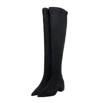 Black Suede Low Heel Pointy Toe Elastic Over-the-knee Boots
