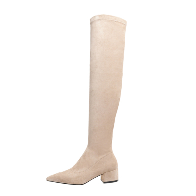 Khaki Suede Elastic Over-the-knee Boots with 2