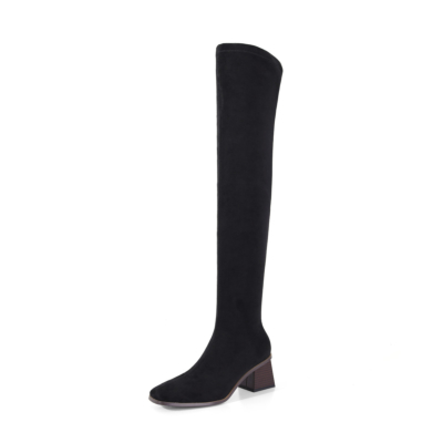 Black Suede Middle Heel Almond Toe Elastic Thigh High Boots