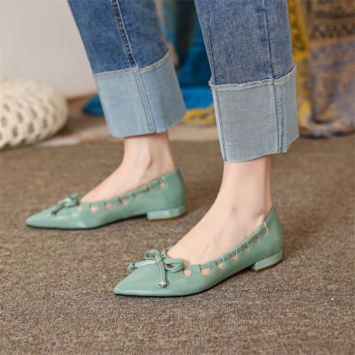 Green Bow Knot Hollow-Out Dresses Pointed Toe Pump Flat Shoes Ballet Flats