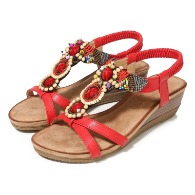 Red Exotic Beads&Crystals Ladies Ankle Strap Wedge Sandals