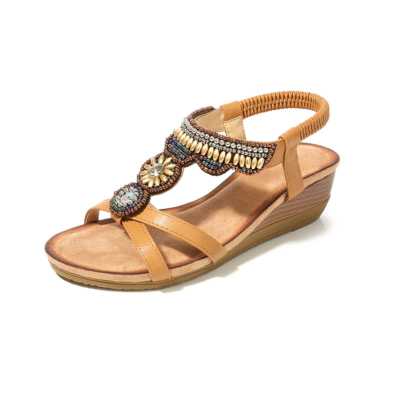 Exotic Beads&Crystals Ladies Ankle Strap Wedge Sandals