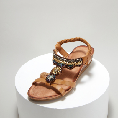 Camel Exotic Beads&Crystals Ladies Ankle Strap Wedge Sandals