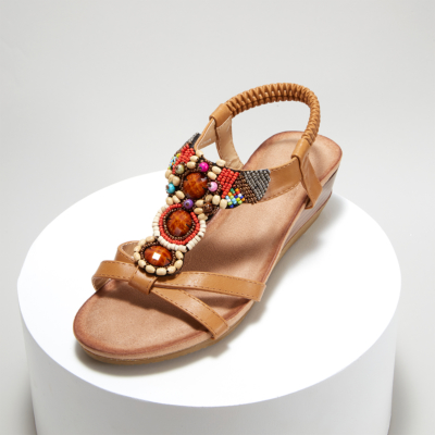 Brown Exotic Beads&Crystals Ladies Ankle Strap Wedge Sandals