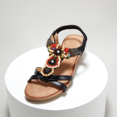 Black Exotic Bead&Crystal Ladies Ankle Strap Wedge Sandals