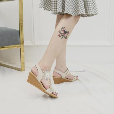 Beige Exotic Flower Open Toe Band Wedge Sandals Gladiator Sandals