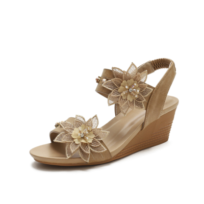 Brown Exotic Flower Open Toe Band Wedge Sandals Gladiator Sandals