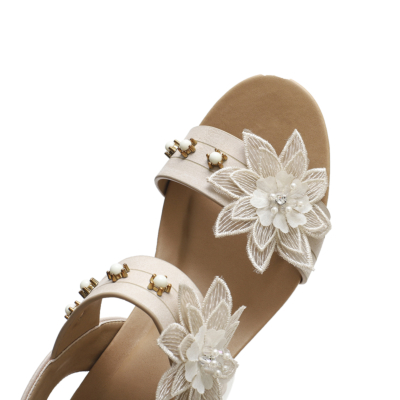 Exotic Flower Open Toe Band Wedge Sandals Gladiator Sandals