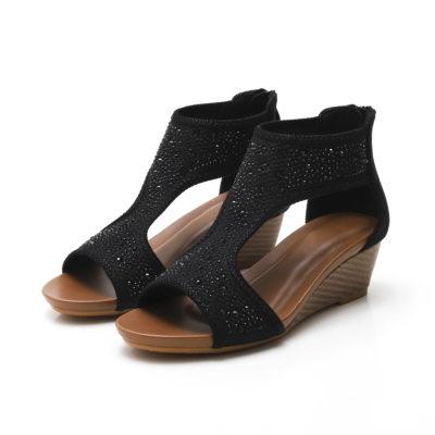 Exotic Crystals T-Strap Wide Fit Wedge Sandals Ladies Shoes