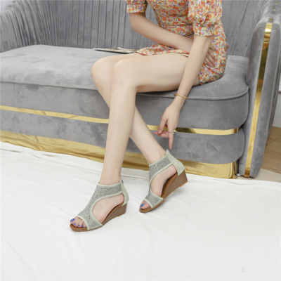 Grey Exotic Crystals T-Strap Wide Fit Wedge Sandals Ladies Shoes